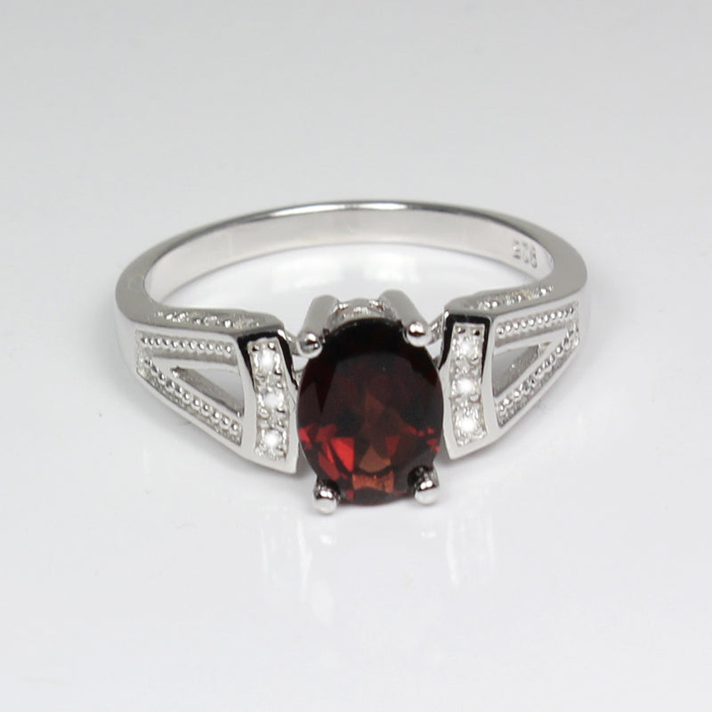 Natural Garnet Ring Sterling Silver with White Diamond Accents / Oval-Shaped