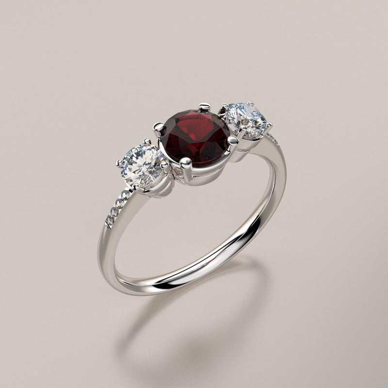 Natural Garnet and Diamond Accents Ring 925 Sterling Silver / Round-Shaped
