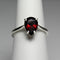 Natural Garnet Ring 925 Sterling Silver / Pear-Shaped Solitaire
