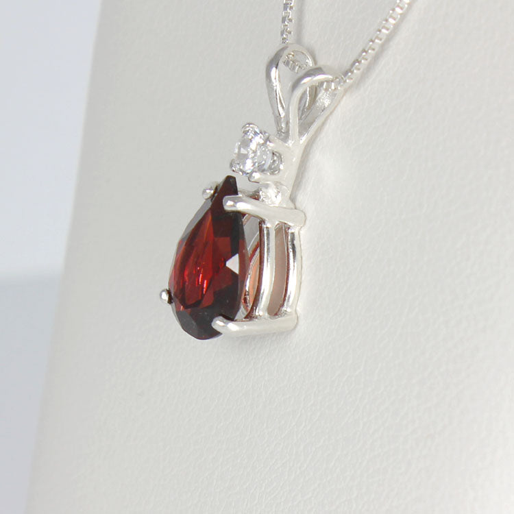 Natural Garnet Necklace 14K White Gold / Pear-Shaped