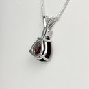 Natural Garnet Necklace 925 Sterling Silver / Pear-Shaped