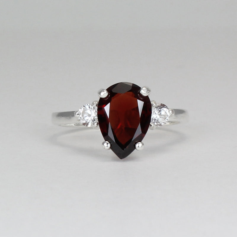 Natural Garnet Ring 925 Sterling Silver / Sapphire Accents / Pear-Shaped