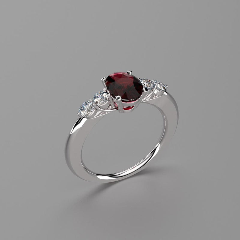 Natural Garnet and Genuine Topaz Accents Ring 925 Sterling Silver / Oval-Shaped