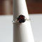 Natural Garnet Ring 925 Sterling Silver / Round-Shaped Crescent-Style