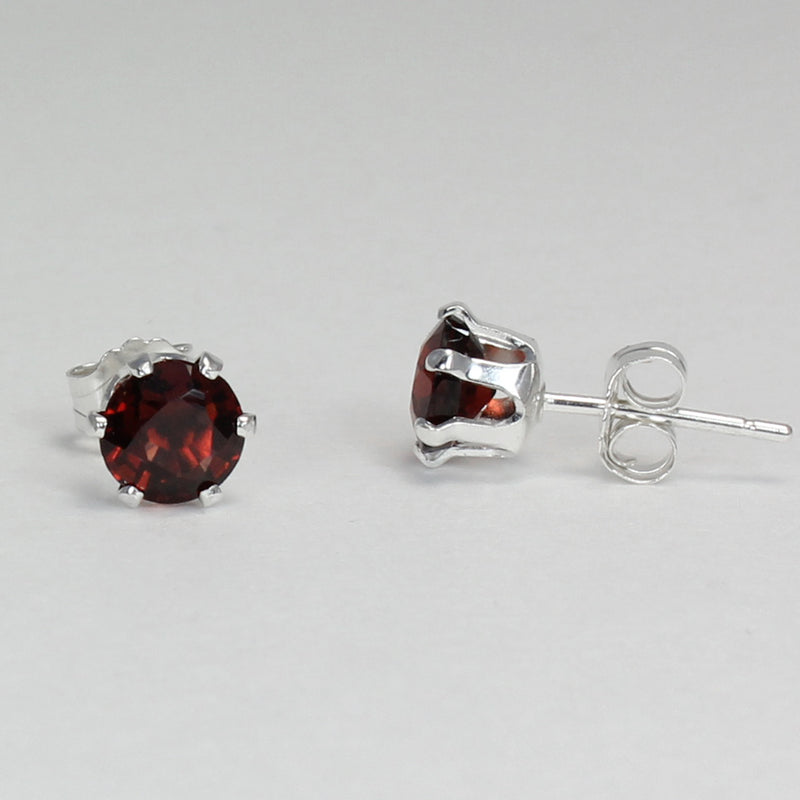Natural Garnet Sterling Silver Earrings / Round-Cut Stud Earrings