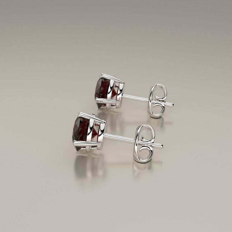 Natural Garnet Earrings Solid 14K White Gold / Round-Shaped Studs