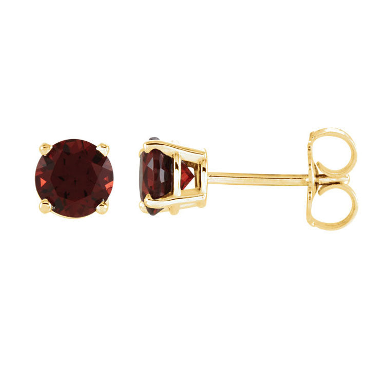 Natural Garnet Stud Earrings Solid 14K Yellow Gold / Round-Shaped