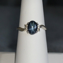 Genuine 6-Ray Blue Star Sapphire Ring 925 Sterling Silver / Bypass-Style