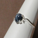 Genuine 6-Ray Blue Star Sapphire Ring 925 Sterling Silver / Pear-Shaped