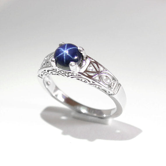 Genuine Blue Star Sapphire Ring 925 Sterling Silver / Round-Cut
