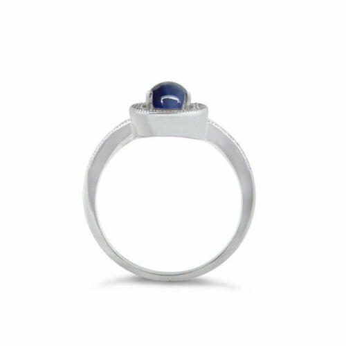Genuine 6-ray Blue Star Sapphire and White Diamond Accents Ring 925 Sterling Silver / Halo-Style