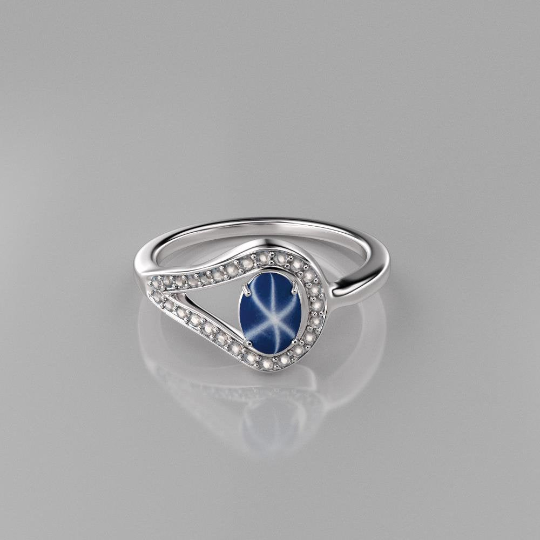 Genuine Blue Star Sapphire Ring Sterling Silver / White Topaz Accents Bypass-Style