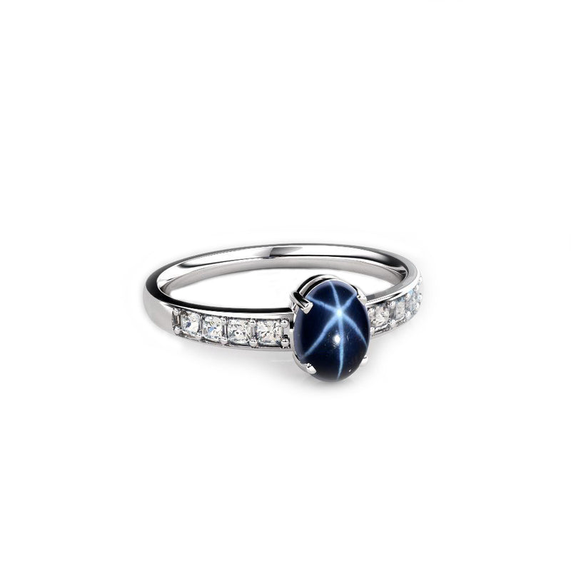 Genuine Blue Star Sapphire Ring 925 Sterling Silver / 1.5 Ct.