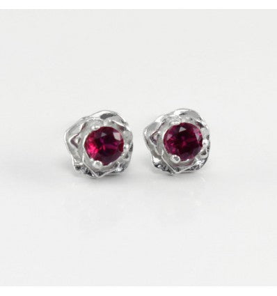 Genuine Ruby Stud Earrings 925 Sterling Silver / Rose-Shaped