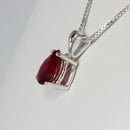 Genuine Ruby Necklace 14K White Gold / Pear-Shaped