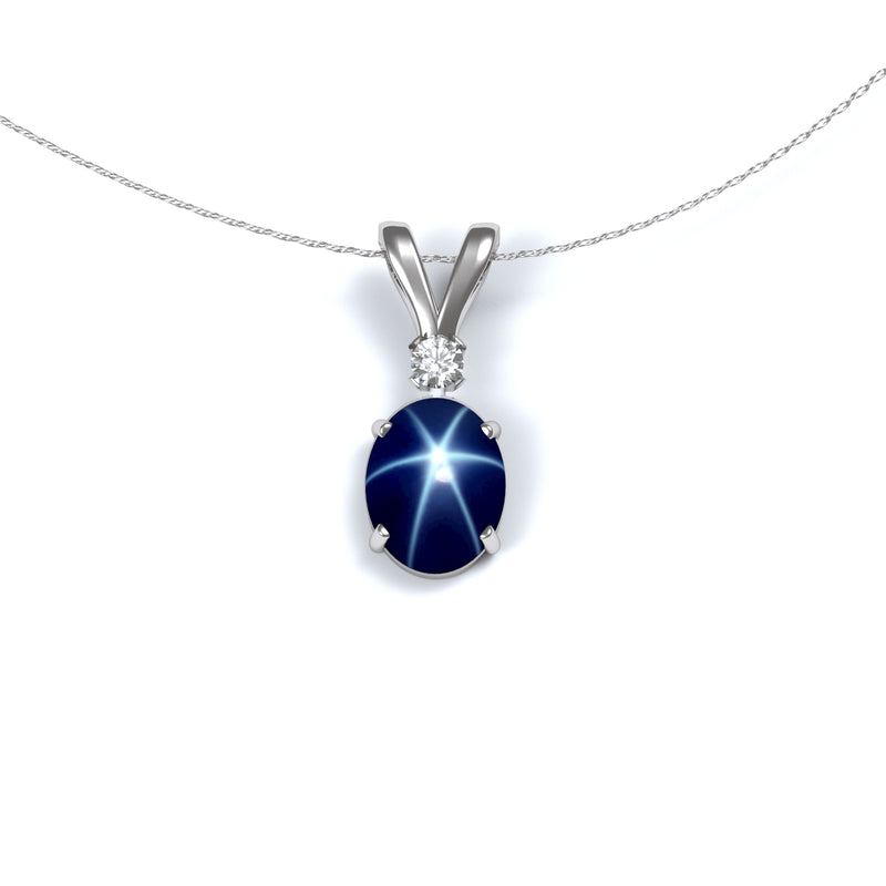 Genuine Blue Star Sapphire Necklace 925 Sterling Silver / Oval-Shaped