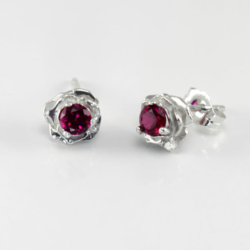 Genuine ruby earrings rose shaped 1.1