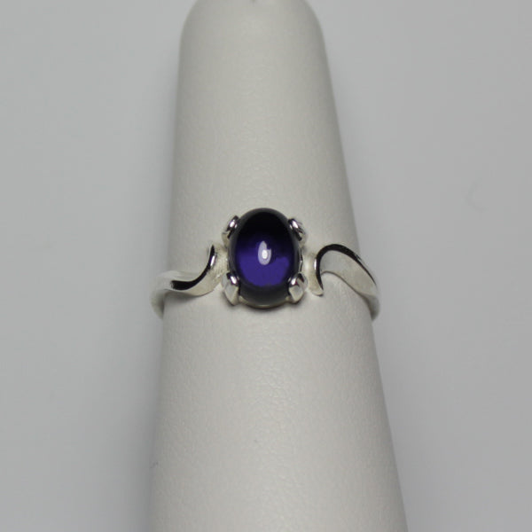 Natural Iolite Ring 925 Sterling Silver / Swirl-Style Cabochon