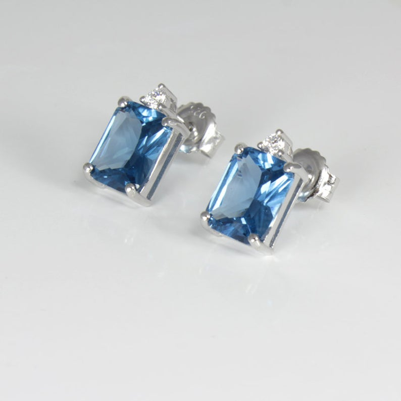 London Blue Topaz and Diamond Stud Earrings 925 Sterling Silver