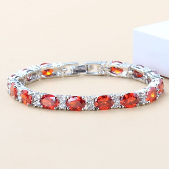 Mexican Fire Opal Tennis Bracelet 14K White Gold-Filled with Diamond Accents