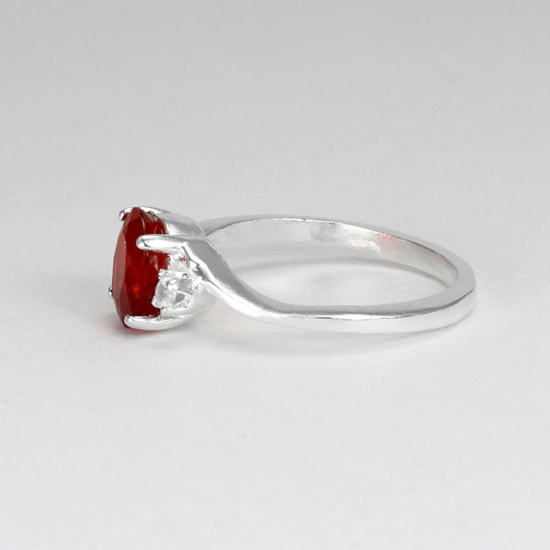 Natural Mexican Fire Opal Ring 925 Sterling Silver / Genuine White Sapphire Accents