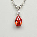 Mexican Fire Opal Necklace 925 Sterling Silver / Pear-Shaped