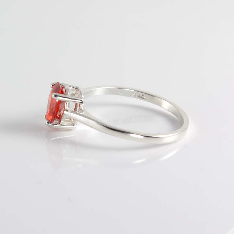 Mexican Fire Opal Ring 925 Sterling Silver / Pear-Shaped Solitaire