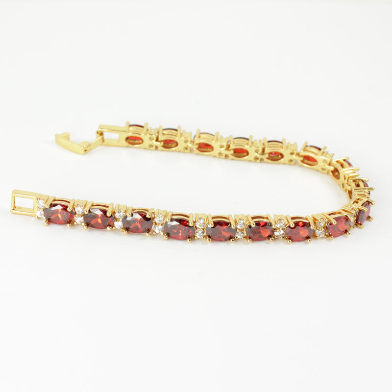 Mexican Fire Opal Tennis Bracelet 14K Yellow Gold-Filled with Diamond Accents