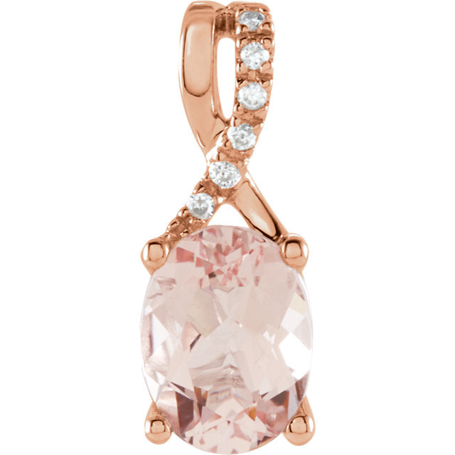 Natural Morganite Solid 14K Rose Gold Necklace / Oval-Shaped Pendant
