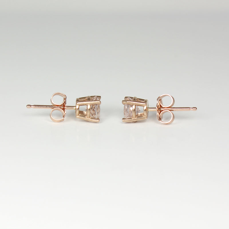 Natural Morganite Stud Earrings 14K Solid Rose Gold / 1.3 Ct