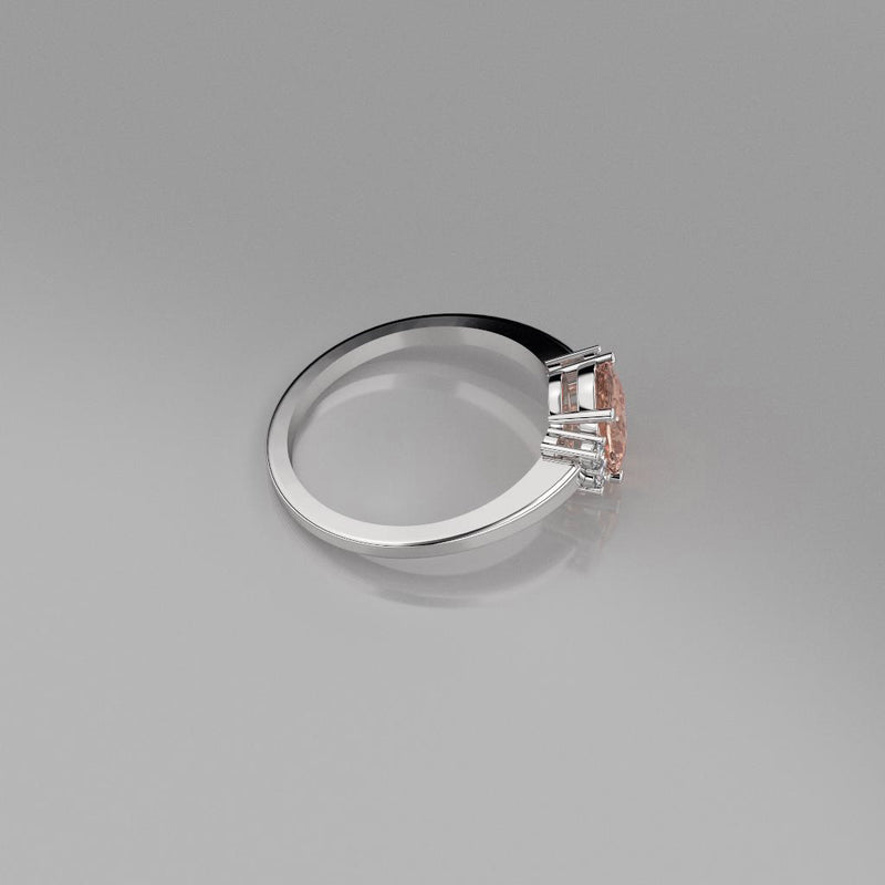 Natural Morganite Ring 925 Sterling Silver / Bypass-Style