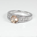 Natural Morganite and Diamonds Ring 925 Sterling Silver / Round-Shaped