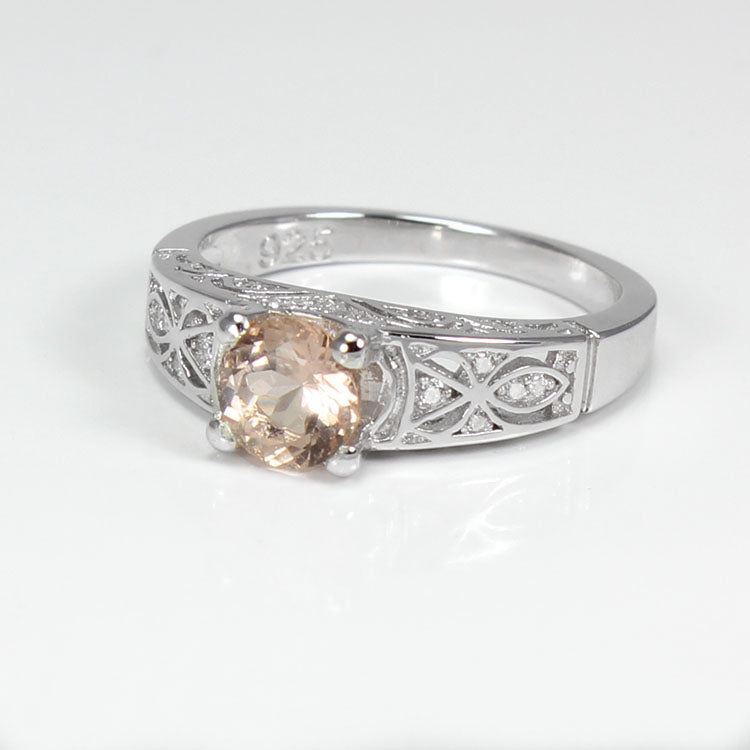 Natural Morganite Ring 925 Sterling Silver / Celtic-Style