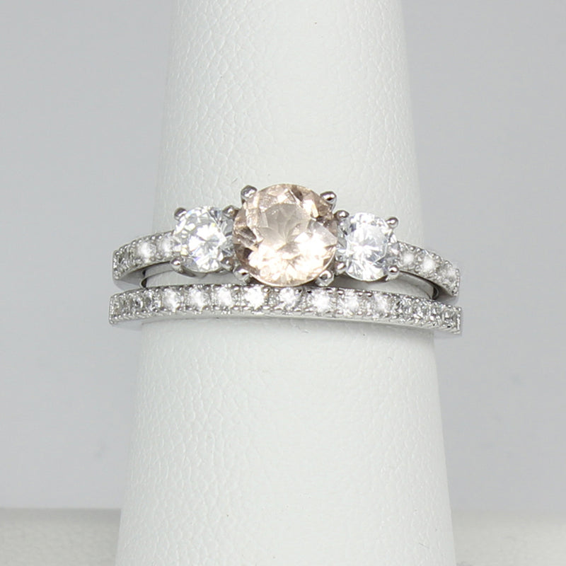 Natural Morganite 925 Sterling Silver Engagement Ring Set