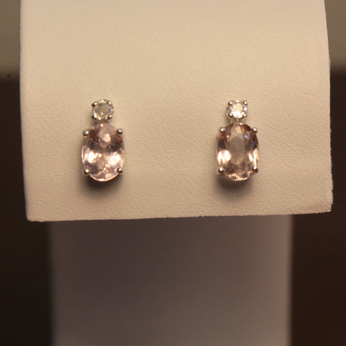 Natural Morganite and White Sapphire Accents Sterling Silver Stud Earrings / Oval-Shaped