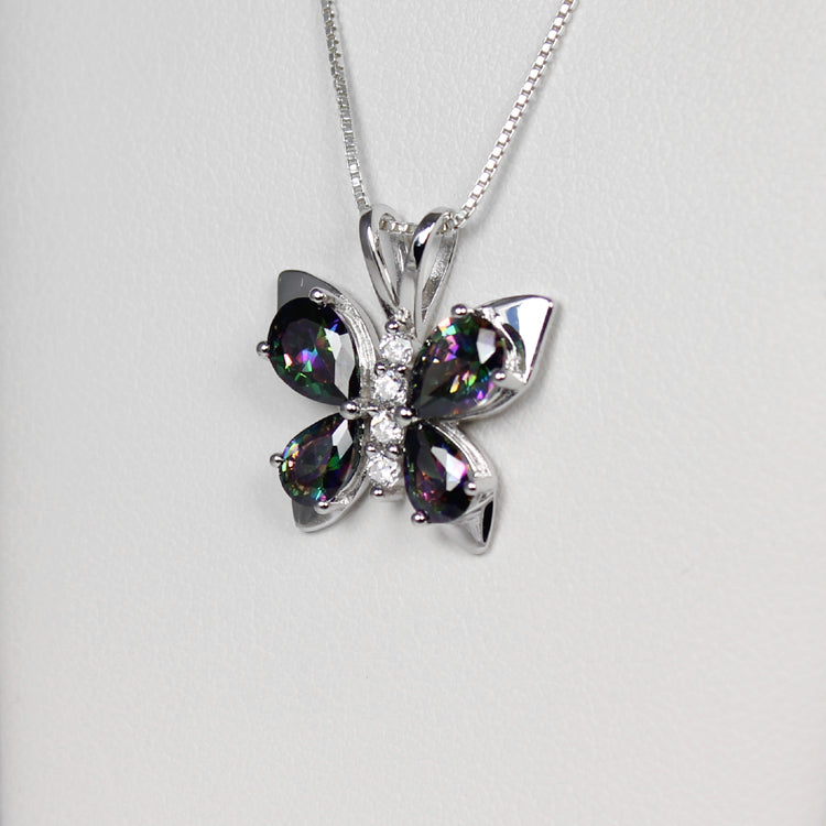 Mystic Topaz and Diamonds Necklace 925 Sterling Silver / Butterfly-Style