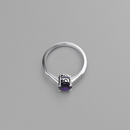 Natural African Amethyst and Genuine Topaz Accents Ring 925 Sterling Silver / Bypass-Style