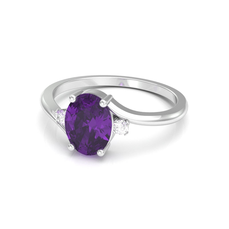 Natural African Amethyst Ring 925 Sterling Silver accented