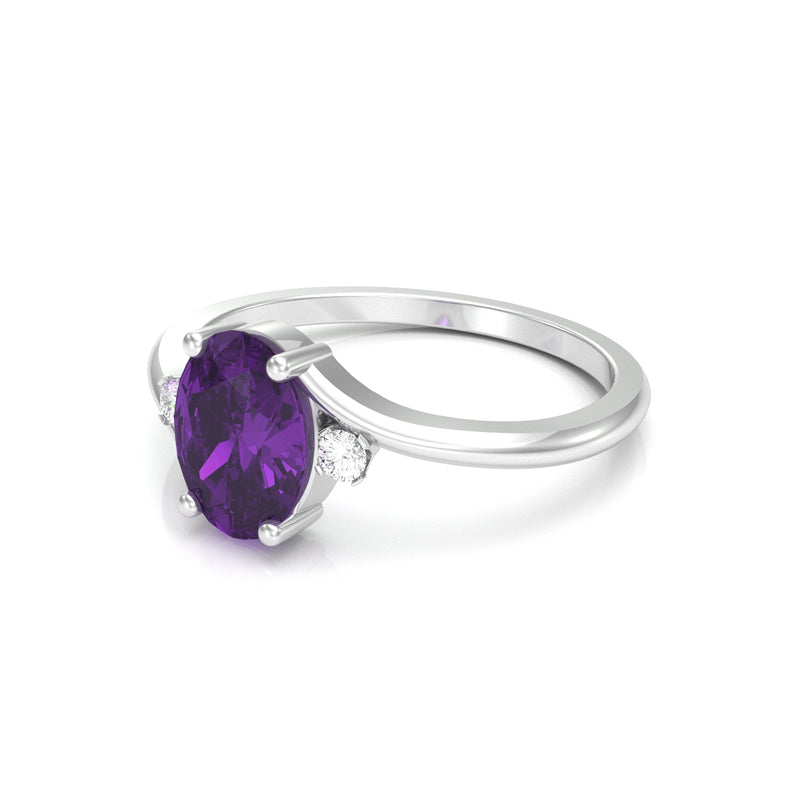 Natural African Amethyst Ring 925 Sterling Silver / Oval-Cut