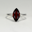 Natural Garnet Ring 925 Sterling Silver / Marquise-Shaped