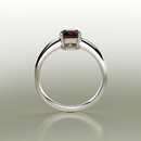Natural Garnet Ring 925 Sterling Silver / Round-Shaped