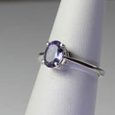 Natural Iolite Ring 925 Sterling Silver / Oval-Shaped Solitaire