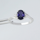 Natural Iolite and White Sapphire Accents Ring 925 Sterling Silver / Oval-Shaped