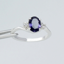 Natural Iolite Ring 925 Sterling Silver / Oval-Shaped Accented