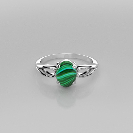 Natural Malachite Ring 925 Sterling Silver / Split-Shank