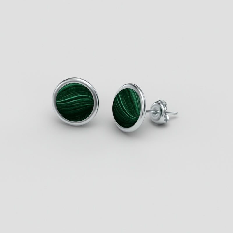 Natural Malachite Sterling Silver Stud Earrings / Bezel
