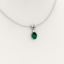 Natural Malachite Necklace / Pendant 925 Sterling Silver with White Diamond Accent
