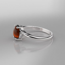 Natural Mexican Fire Opal and Genuine Topaz Accents Ring 925 Sterling Silver / Oval-Shaped Cabochon