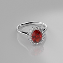 Natural Mexican Fire Opal and Genuine Topaz Ring 925 Sterling Silver / Halo-Style