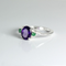 Natural African Amethyst 925 Sterling Silver Ring with Emeralds
